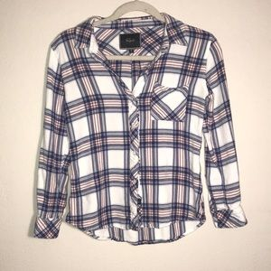 Rails white, blue and pink plaid button up